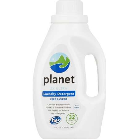 Planet 2X Ultra Laundry Detergent, Free & Clear, Certified Biodegradable, HE & Regular Washers, 32 Loads, 50 oz.