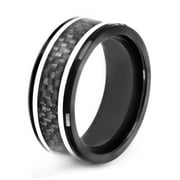 Black Plated Stainless Steel Carbon Fiber Inlay Ring