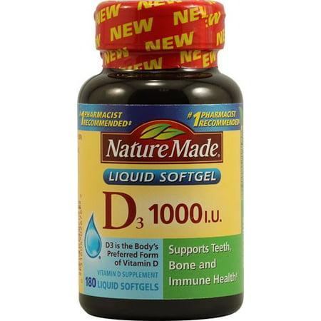 Nature Made D3 1000 UI de vitamine D supplément liquide Gélules - 180 CT