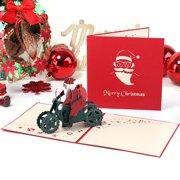 AkoaDa Christmas Card,3D Santa Claus Riding Motorcycle Greeting Card, Christmas Gift Santa Vlaus Christmas Handmade Christmas Cards