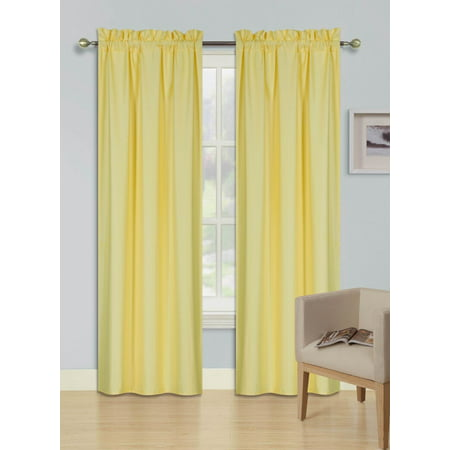 2 PANELS YELLOW SOLID BLACKOUT THERMAL ROD POCKET FOAM LINED WINDOW CURTAIN DRAPE R64 84 LENGTH ()