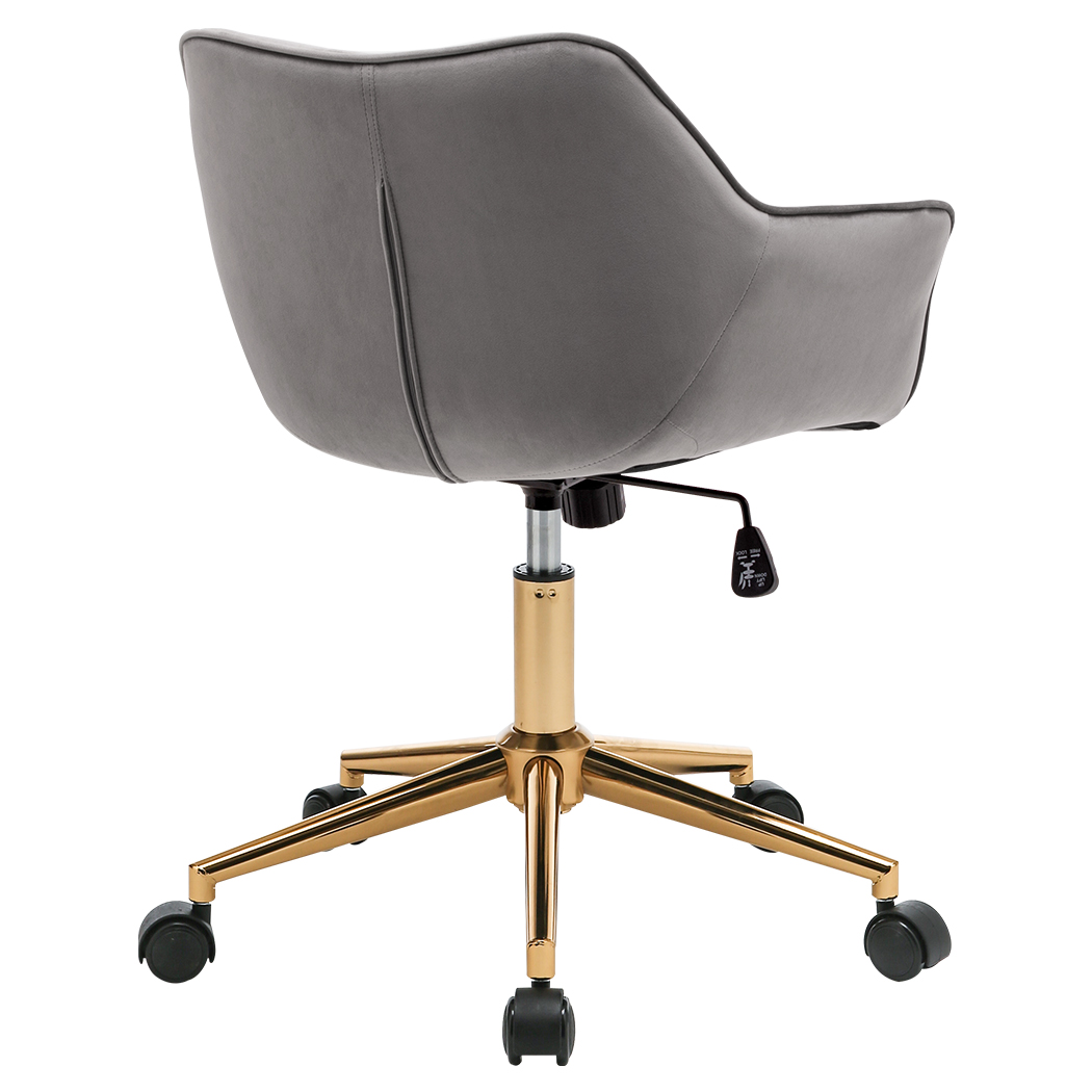 Duhome Velvet Modern Home Office Desk Chair Mid Back Mid Century Modern Adjustable Swivel Computer Chair With Arms Gold Base And Black Wheels Grey 1pcs Walmart Com Walmart Com