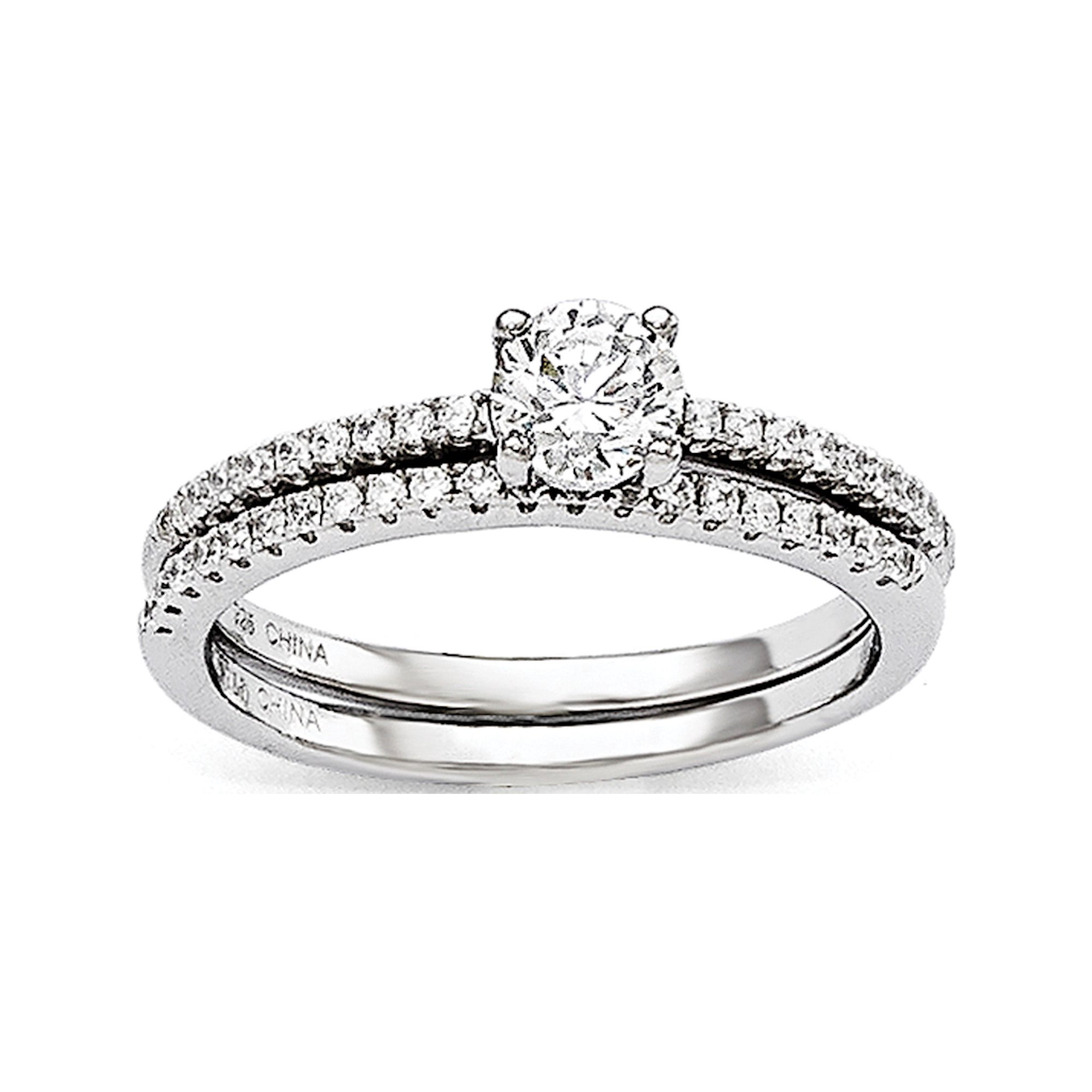 Sterling Silver Cz Brilliant Embers 2 Piece Wedding Ring Set