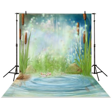 HelloDecor Polyster Funnytree5x7ft Photography Backdrop pond bulrush firefly wonderland flower baby Photophone background props photocall photobooth photo studio