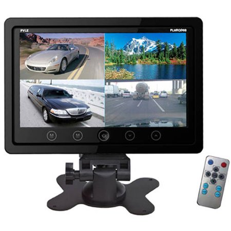 Pyle 9 Video Display Monitor  Quad View  4  Source Zone Display  Multiple Source Input  Selectable Viewing Mode  Backup Camera Compatible  Black