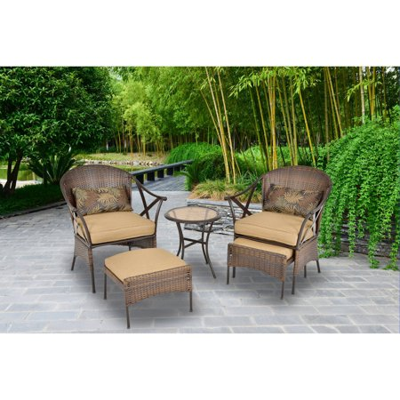 Mainstays 5 piece skylar glen outdoor leisure set tan for Braddock heights chaise lounge