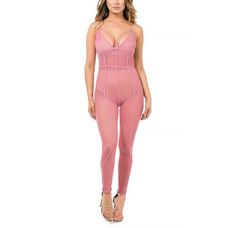 Mesh Catsuits (Ktoo Fashion Piping Detailed Mesh Catsuit Trendy Sexy Bodysuit)
