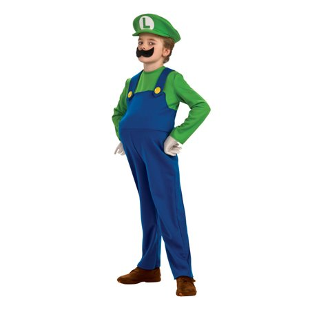 Super Mario Bros. Luigi Deluxe Child Halloween Costume - Super Mario Kids Costume