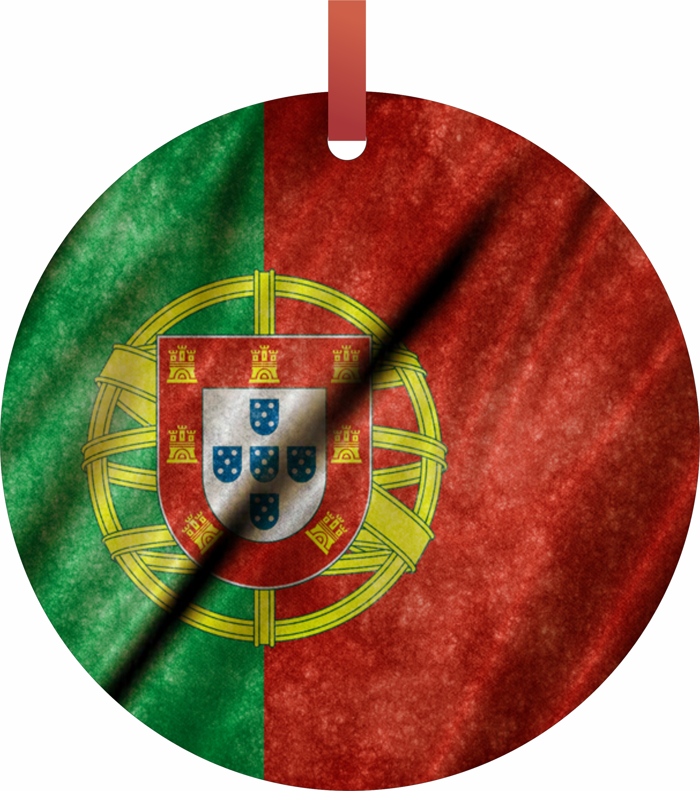 Portugal Flag in Grungy Waving Print TM Double-Sided Flat Round-Shaped Holiday... by Accessory Avenue