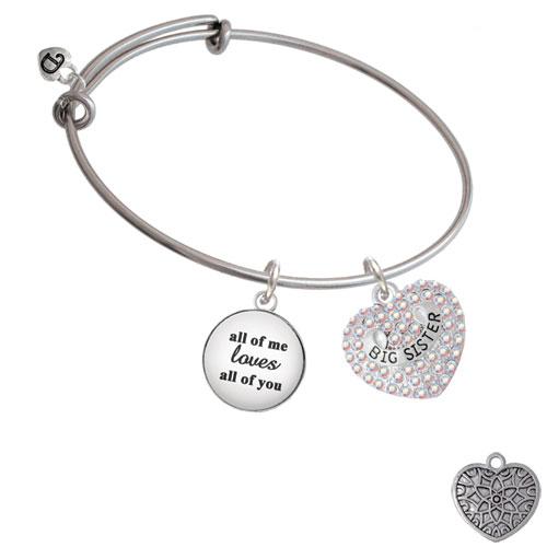 Big Sister Rock on AB Crystal Heart All Of Me Loves Bangle Bracelet