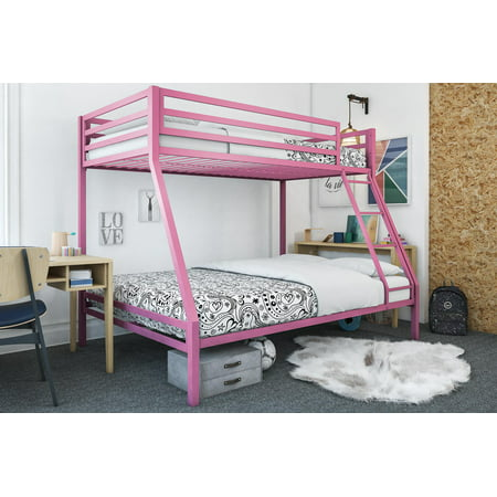 Mainstays Premium Twin over Full Bunk Bed, Multiple Colors - Metal Frame Futon Bunk Bed