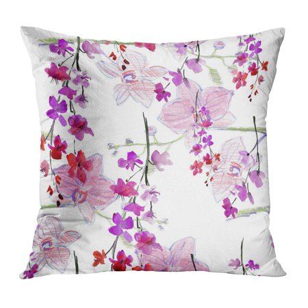 ECCOT Colorful Sakura Beautiful Floral Pattern Flower Watercolor Elegance Pink Orchids on Green Tropical Accent PillowCase Pillow Cover 20x20 -