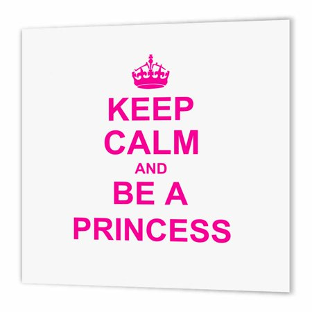 3dRose Keep Calm and be a Princess - hot pink - fun girly girl gifts for your princess carry on funny humor, Iron On Heat Transfer, 10 by 10-inch, For White Material