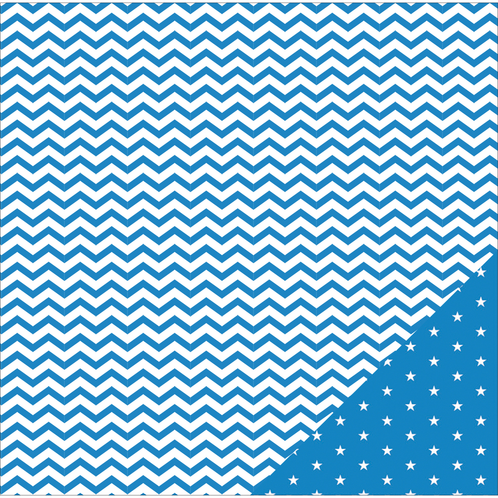 "American Crafts Basics Double-Sided Cardstock 12""X12""-Marine Chevron"