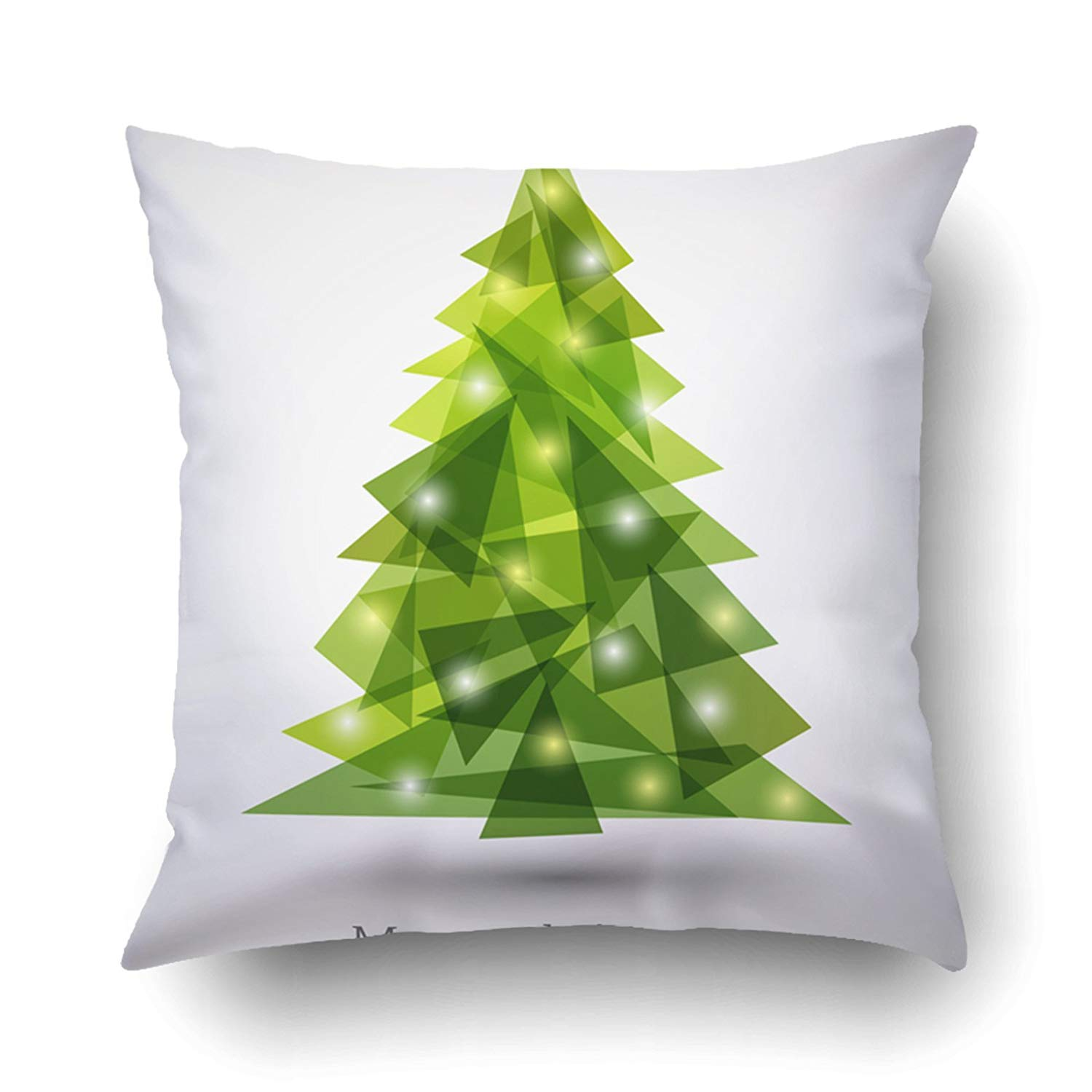 WOPOP Xmas Abstract Christmas Tree Made Of Green Triangles Christmas Tree Greeting Pillow Case Cushion Cover Case Throw Pillow Case 20x20 inches