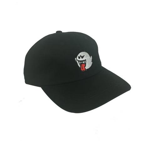 Ghost Boo Black Hat Baseball Cap Super Mario Bros Dad Buckle - Super Mario Bros Hats