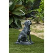 Luxen Home 16.9in. Labrador Retreiver Dog Gray MgO Garden Statue