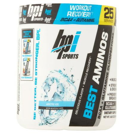 BPI Sports Best Aminos BCAA + Glutamine Powder, Arctic Ice, 25