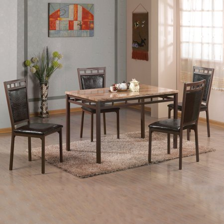 4 Sided Marble (Home Source Infinity Erwin Brown 5-Piece Dining Set with Light Brown Faux Marble Top and 4 Faux Leather Side)