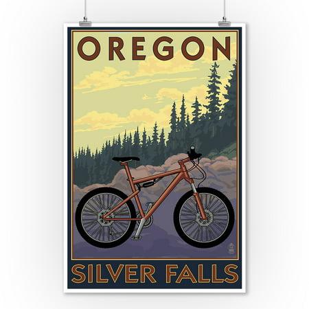 Silver Falls State Park, Oregon - Bicycle Scene - Lantern Press Poster (9x12 Art Print, Wall Decor Travel
