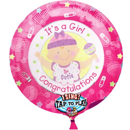 Baby Shower 'It's a Girl' Sing-a-Tune Supershape Foil Mylar Balloon (1ct)](Singing Balloons)
