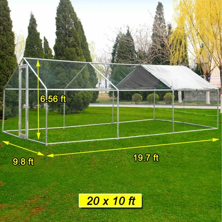 20x10ft Walk in Large Metal Chicken Coop  Run Backyard Hen House Poultry Rabbit Cage &