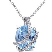 5-5/8 Carat T.G.W. Blue Topaz and 1/10 Carat T.W. Diamond Sterling Silver Fashion Pendant, 18