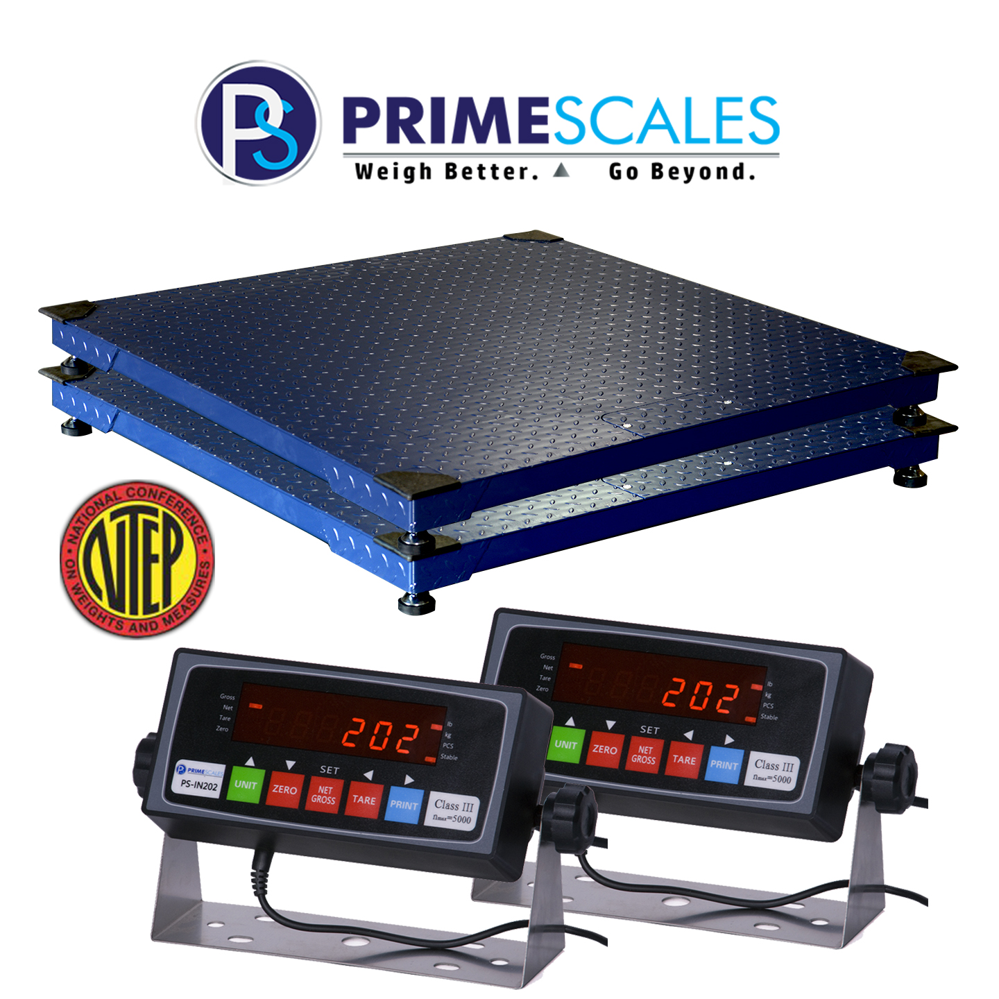 Prime Scales 4x4 Feet 10000x2lb My Scale FW4x4 Heavy Duty Legal For Trade (NTEP) Floor Scale + PSIN202 Indicator - Pack of 02