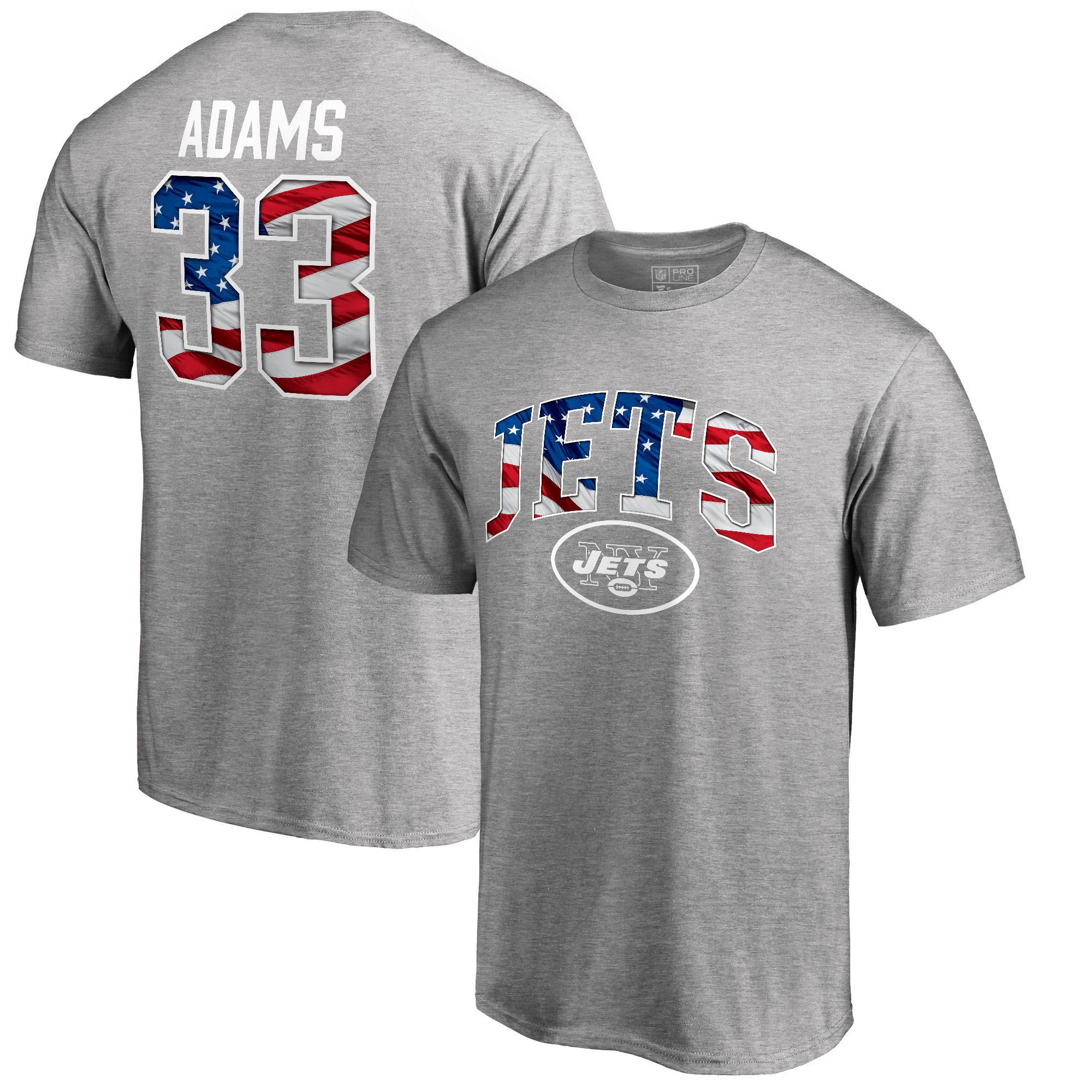 Jamal Adams New York Jets NFL Pro Line by Fanatics Branded Banner Wave Name & Number T-Shirt - Heather Gray