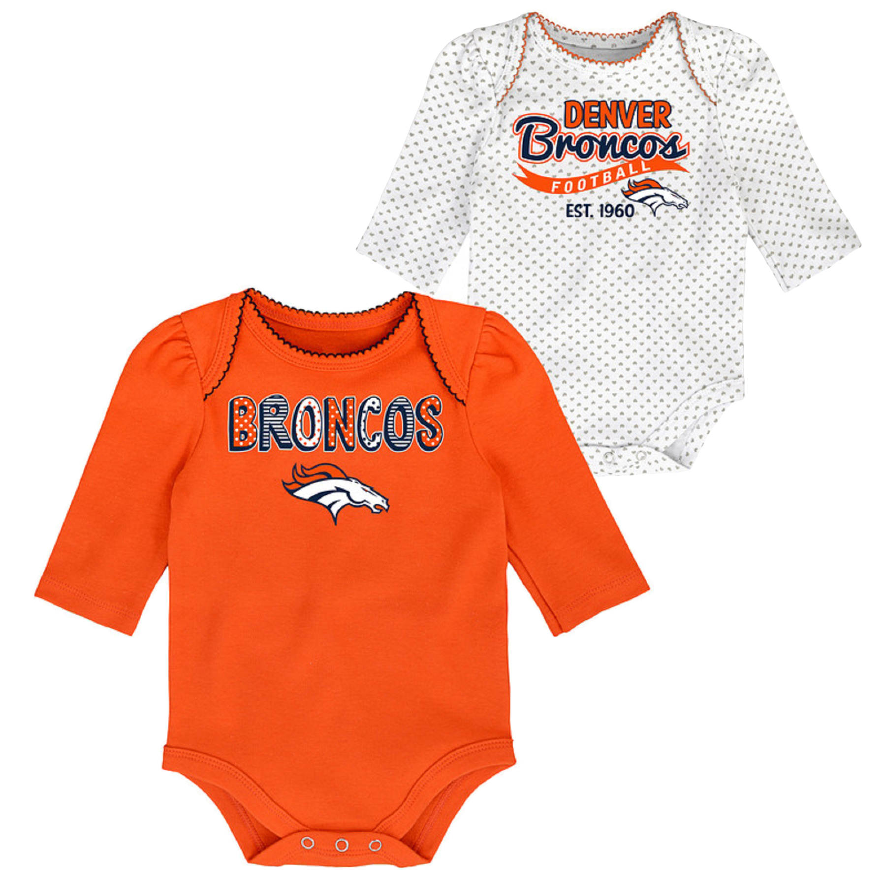 Girls Newborn & Infant Orange/White Denver Broncos 2-Pack Long Sleeve Bodysuits