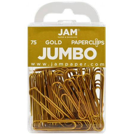JAM Colorful Jumbo Paper Clips , Large 2 Inch (50.8 mm) , Gold Paperclips , 75/Pack - image 4 de 4
