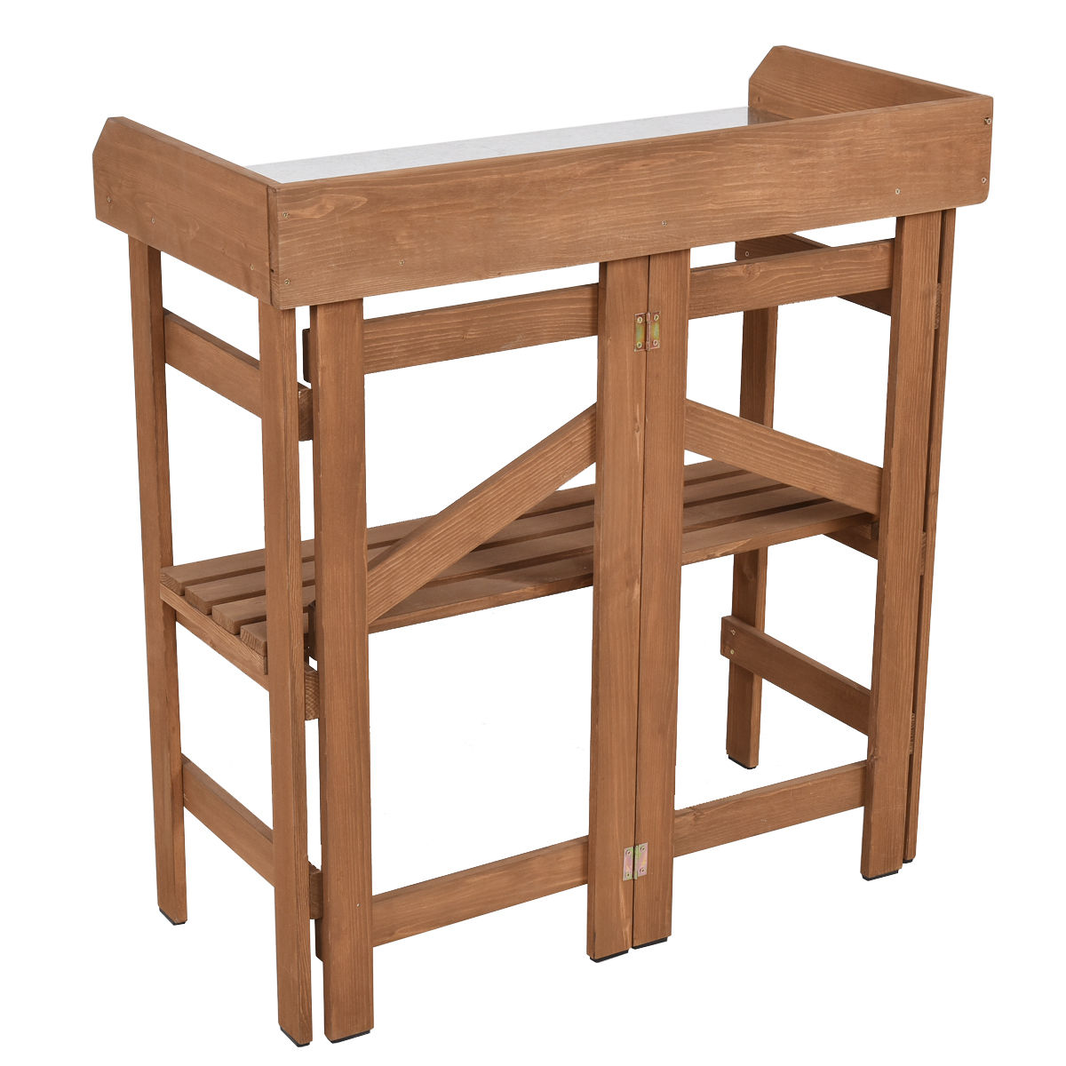 """GHP 32.1""""LX15.1""""WX34.0""""H Durable Natural Wood and Galvanized Steel Potting Bench"""