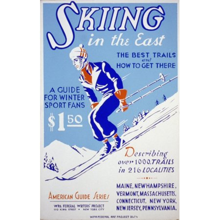 WPA Skiing in the East 1939 Canvas Art - Unknown (18 x