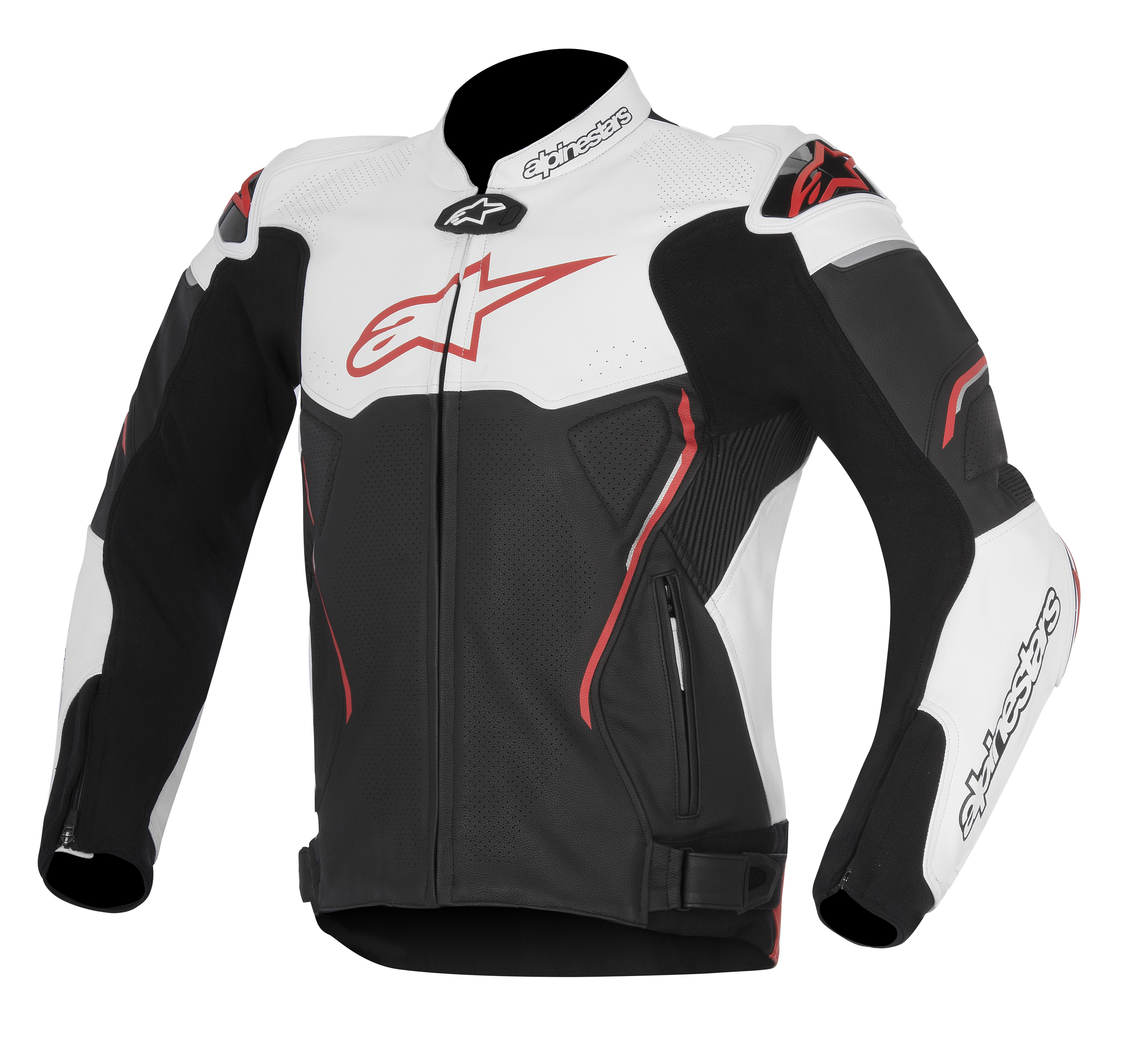 Alpinestars Atem Mens Leather Jacket Black/White/Red