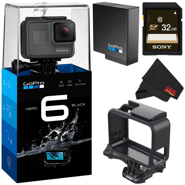 GoPro HERO6 Black Action Camera- Gold Bundle w/ GoPro 3- Way + Floating Strap and Helmet Strap