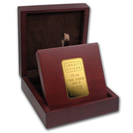 Apmex Wood Gift Box   10 Oz Credit Suisse Gold Bar  W Assay