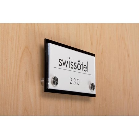 Clear Acrylic Wall Plaque - Door Sign for Wall Mount with Stainless Steel Standoffs, 6 x 3-Inch, Black And Clear Acrylic Panels (DSIGN63BK)