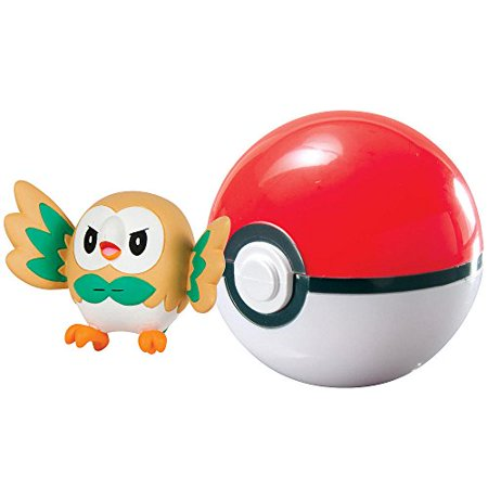 Pokemon Clip n Carry Pokeball Rowlet Poke Ball Figure Set