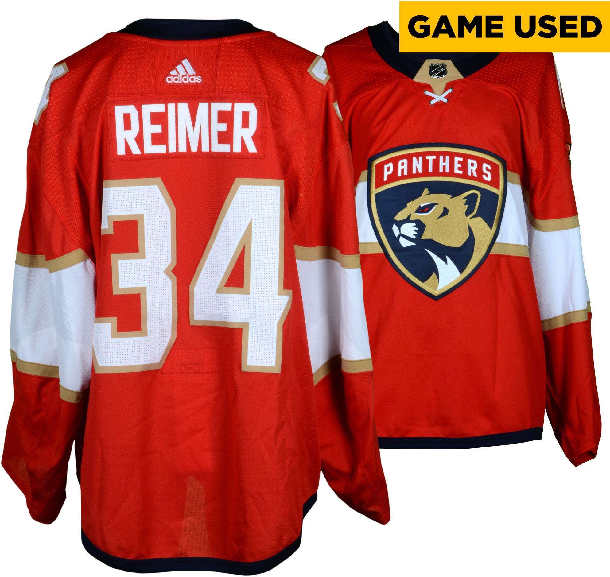 2fc3509dce3 ... where to buy james reimer florida panthers game used 34 red set 1 jersey  with marjory