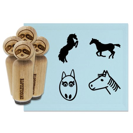 Horses Running Rearing Head Face Rubber Stamp Set for Scrapbooking Crafting Stamping - Mini 1/2 Inch