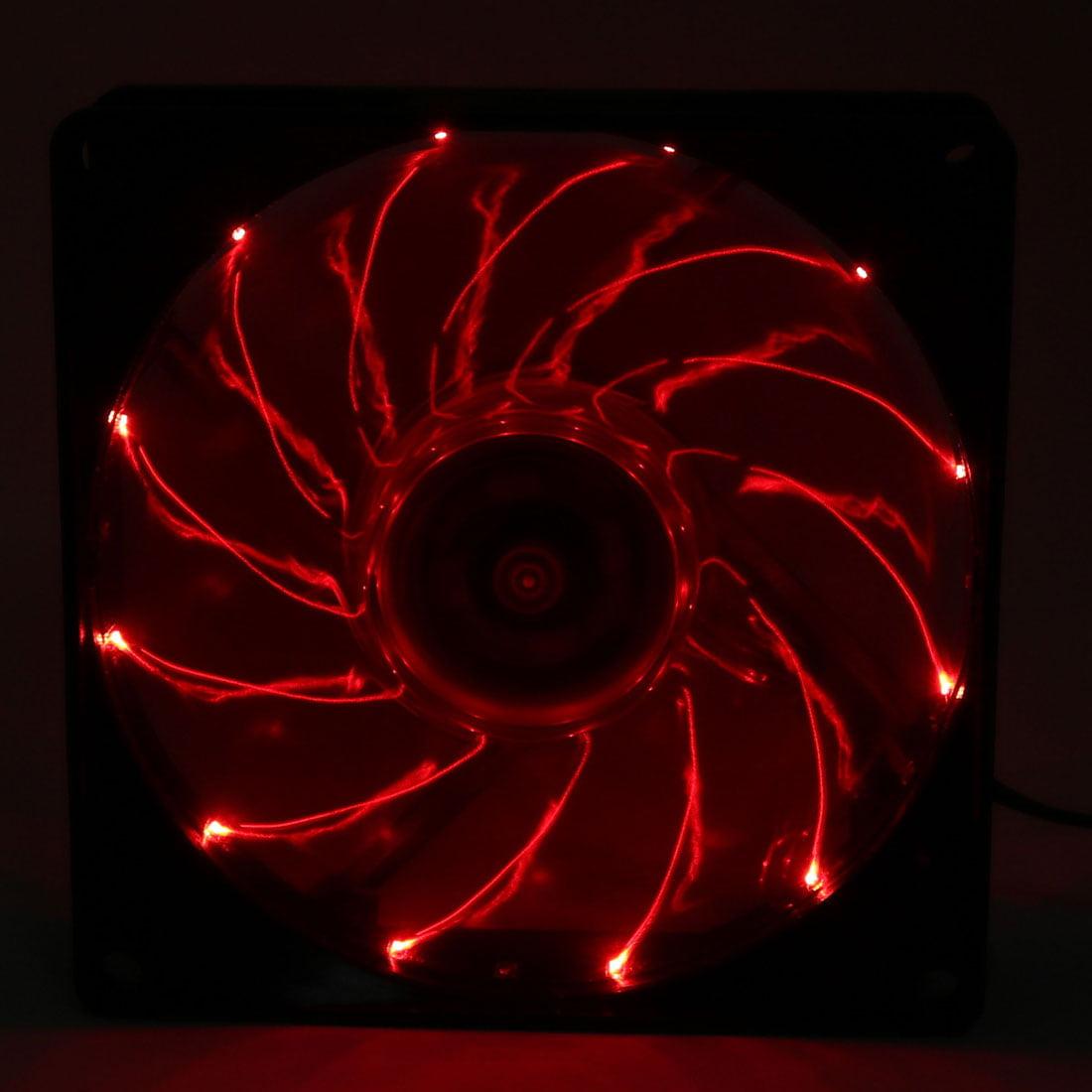 DC12V 0.16A 9Cm 4P Red 12 LED Light Cooling Fan for PC Cases CPU Cooler Radiator - image 1 de 4
