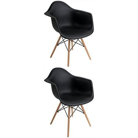 Peachy Mid Century Modern Eiffel Style Bucket Dining Chair With Wood Base Black Set Of Two Machost Co Dining Chair Design Ideas Machostcouk
