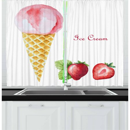 Ice Cream Curtains 2 Panels Set, Watercolor Strawberry Flavor Summer Kids Girls Yummy Artwork Print, Window Drapes for Living Room Bedroom, 55W X 39L Inches, Sand Brown Pale Pink, by Ambesonne - Artwork For Kids