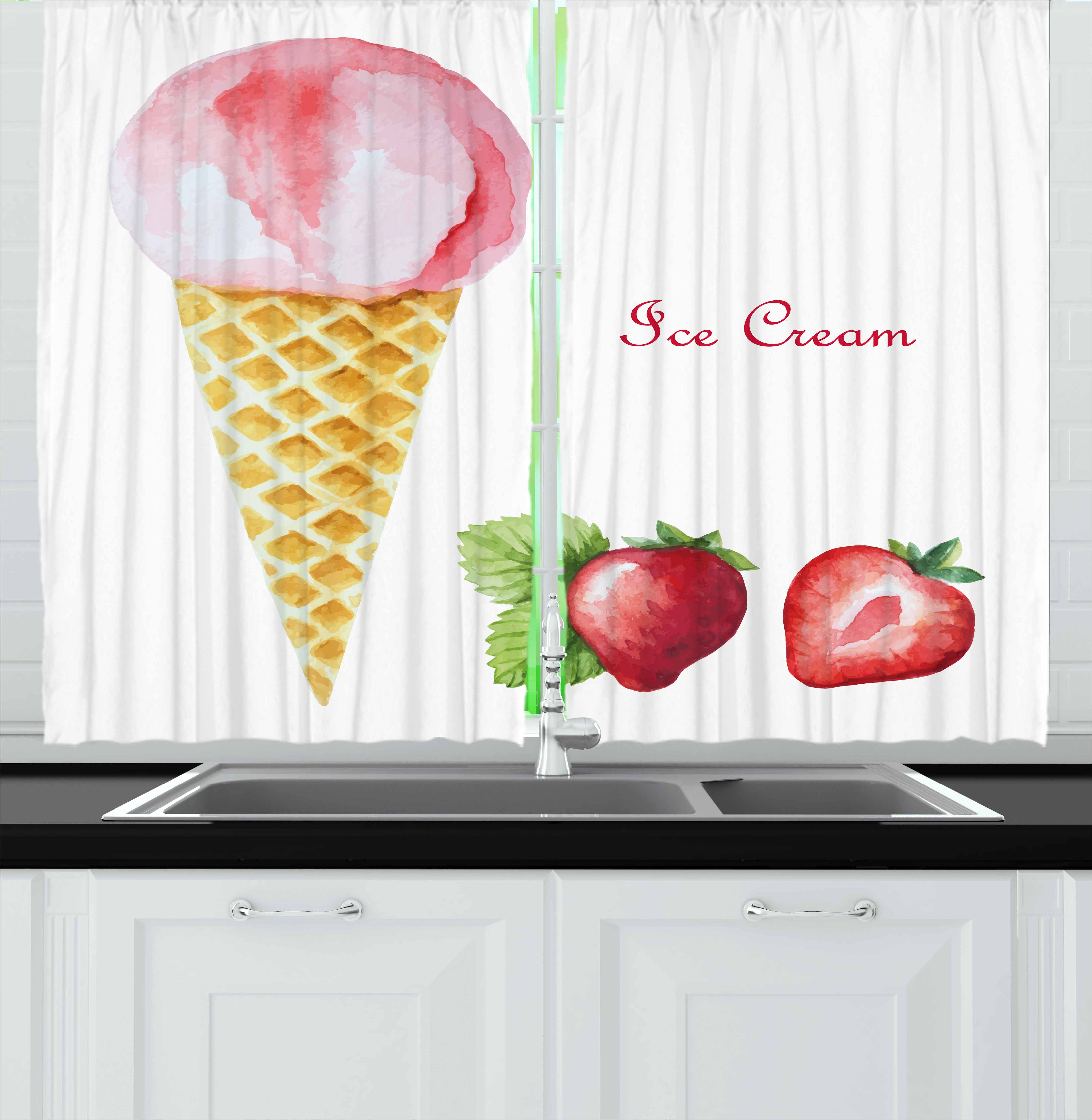 Ice Cream Curtains 2 Panels Set, Watercolor Strawberry Flavor Summer Kids Girls Yummy Artwork Print, Window Drapes for Living Room Bedroom, 55W X 39L Inches, Sand Brown Pale Pink, by Ambesonne