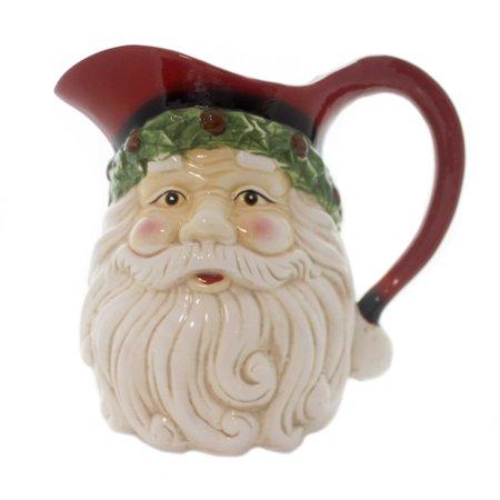 - Tabletop SANTA FACE PITCHER Ceramic Christmas Holiday 53180D