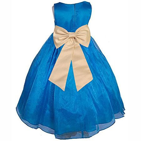 8e65a8445 Ekidsbridal Royal Blue Formal Satin Bodice Organza Skirt Flower Girl Dress  Pageant Wedding Special Occasion Holiday Easter Toddler Ball Gown Recital  ...