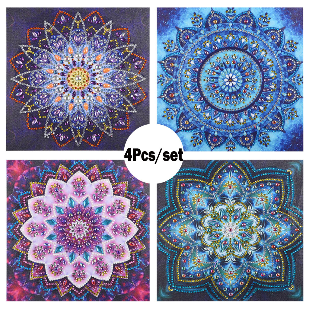 4Pcs/Set Special Shaped Diamond Painting DIY 5D Partial Drill Cross Stitch Kits