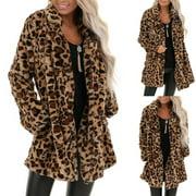 YIWULA Women's Leopard Faux Fur Pocket Fuzzy Warm Winter Oversized Outwear Long Coat