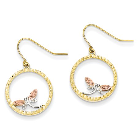 Ice Carats 14kt Tri Color Yellow White Gold Dragonfly In Circle Wire Drop Dangle Chandelier Earrings
