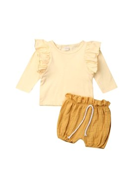 2019 Newborn Kid Baby Girl Clothes Long Sleeve Tops+PP Shorts Cotton&Linen Outfits 2pcs Baby Toddler Girls Clothes
